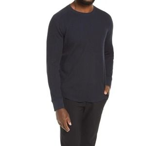 Vince Long Sleeve Stretch Cotton Thermal Top BLUE